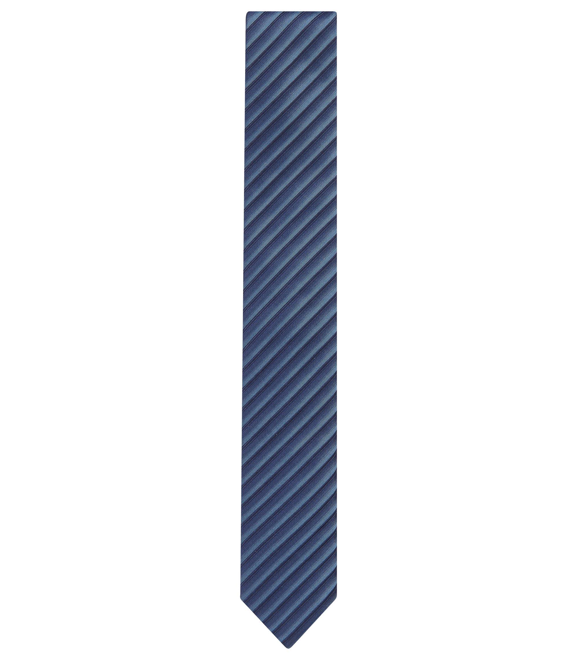 Striped Cotton Silk Slim Tie, Light Blue