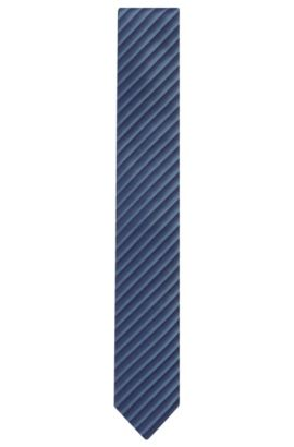 Striped Cotton Silk Slim Tie, Light Blue