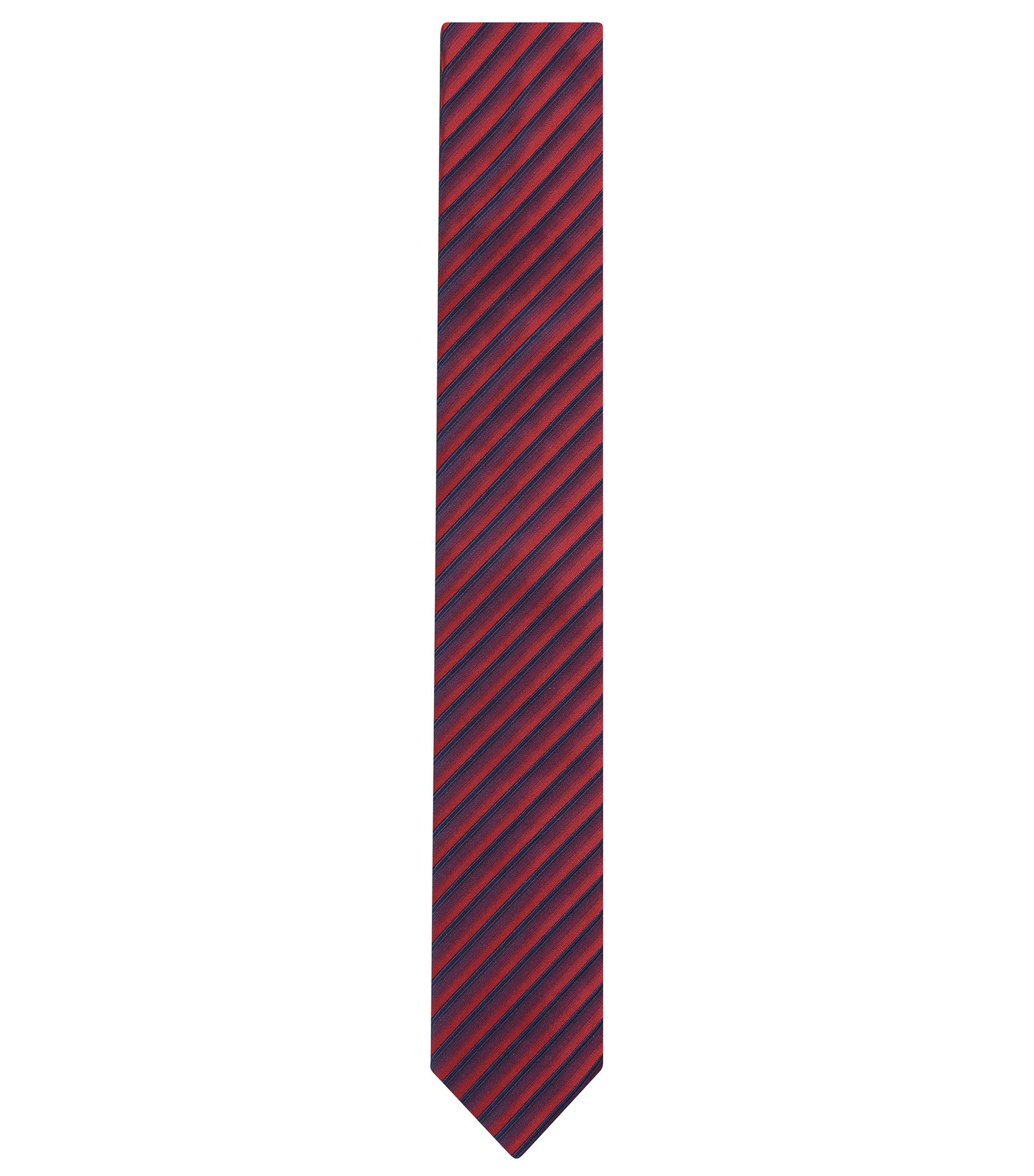 Striped Cotton Silk Slim Tie, Red