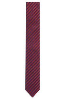 Striped Cotton Silk Slim Tie, Red