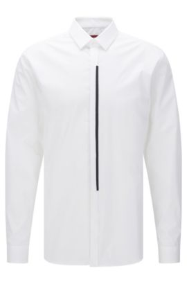 'Emac' | Extra Slim Fit, Stretch Cotton Button Down Shirt, Open White