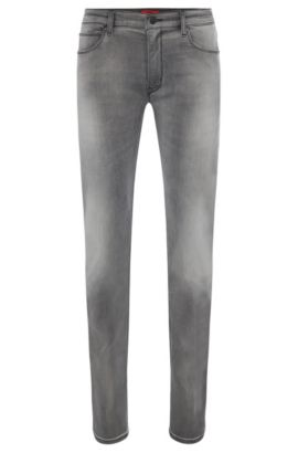 8.5 oz Stretch Cotton Blend Jeans, Slim Fit | Hugo 708, Silver