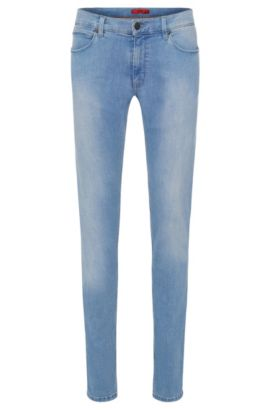 11.75 oz Stretch Cotton Blend Jeans, Slim Fit | Hugo 708, Light Blue