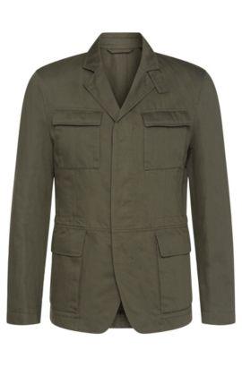 Cotton Linen Field Jacket | Nelio W, Dark Green