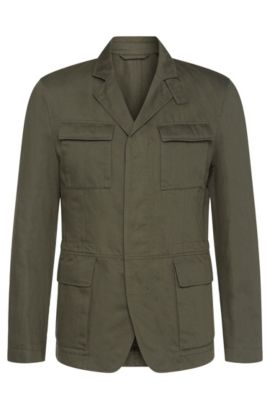 'Nelio-W' | Cotton Linen Field Jacket, Dark Green
