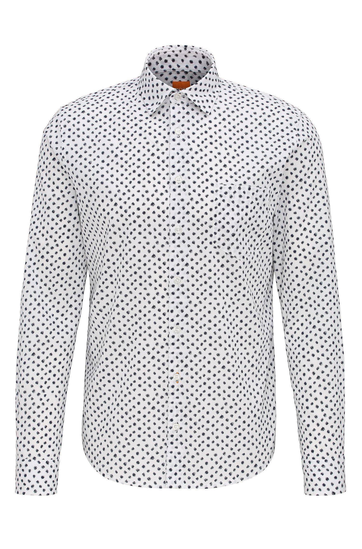 'Epop' | Slim Fit, Printed Cotton Button-Down Shirt
