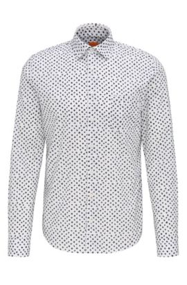 'Epop' | Slim Fit, Printed Cotton Button-Down Shirt, White