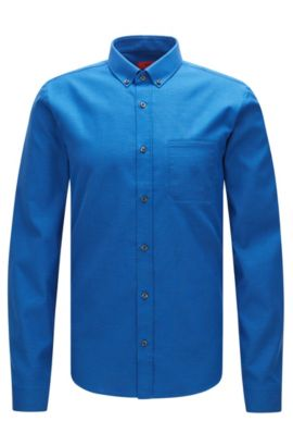 'Enico' | Slim Fit, Cotton Button Down Shirt, Blue