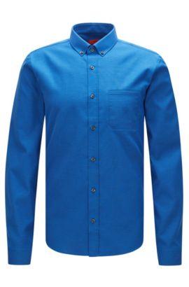 'Enico' | Slim Fit, Cotton Button Down Shirt, Blue
