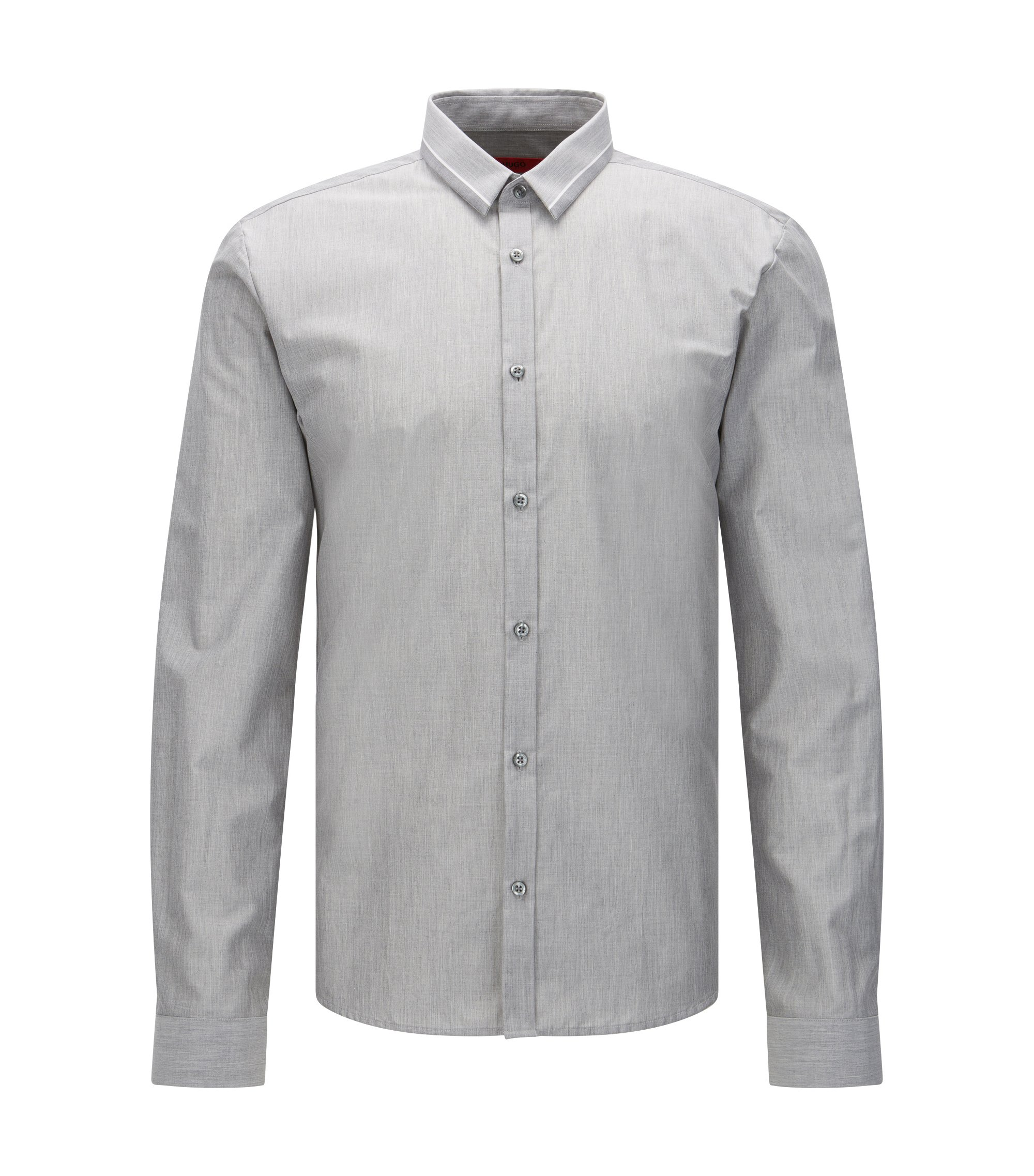 Cotton Button Down Shirt, Slim Fit | Ero, Open Grey
