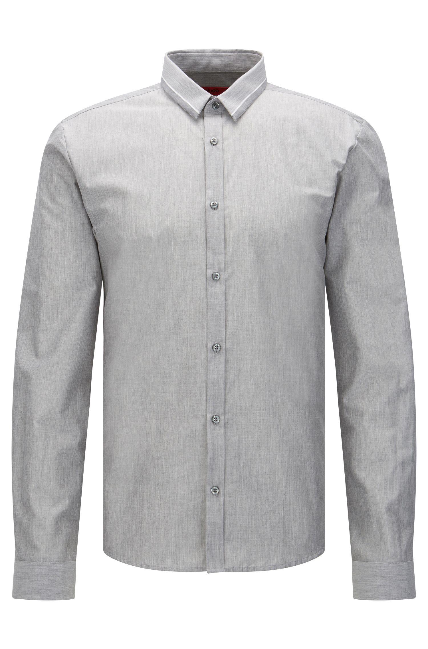 Cotton Button Down Shirt, Slim Fit | Ero, Open Grey