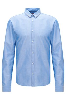 'Ero' | Slim Fit, Cotton Button Down Shirt, Blue