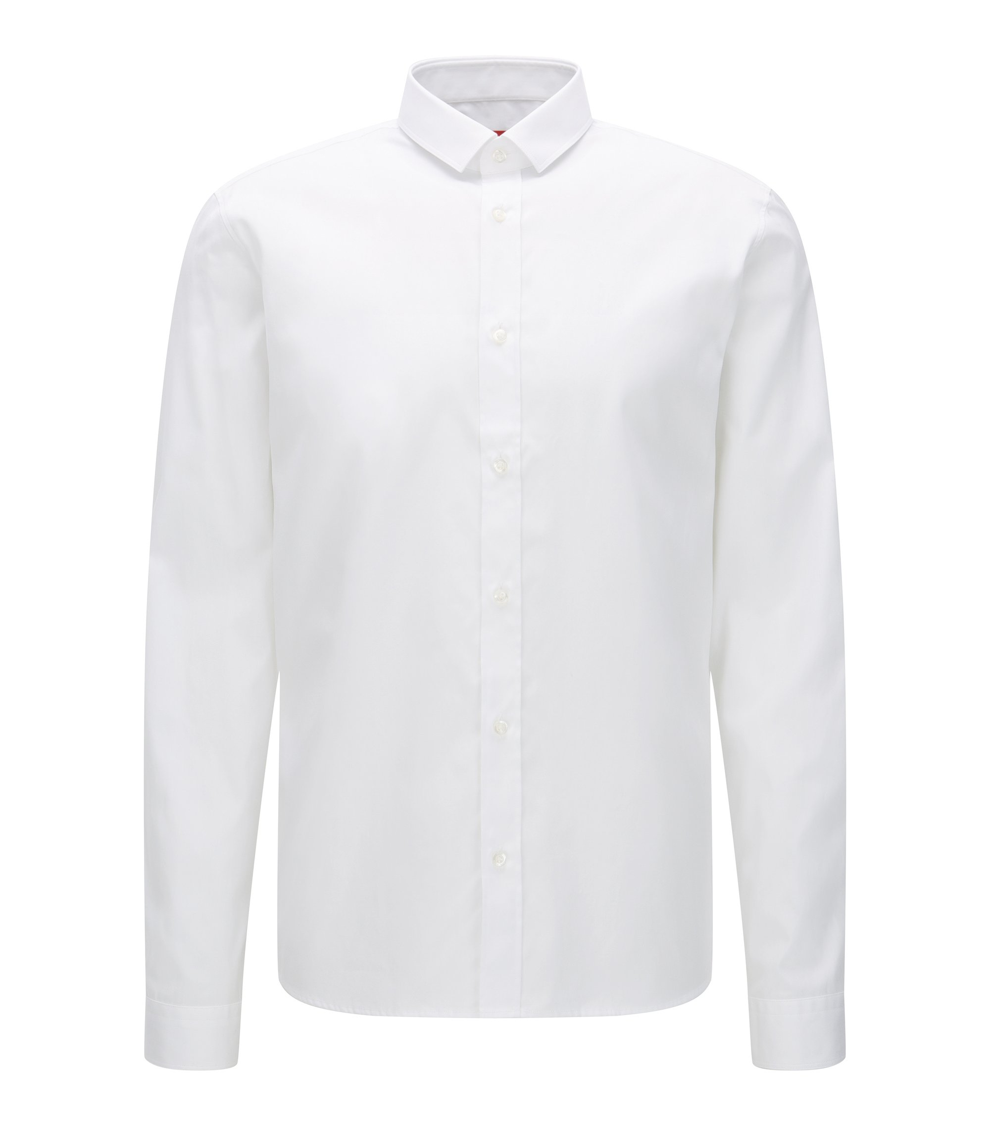 Cotton Zipper Button Down Shirt, Relaxed Fit | Ekong, Open White