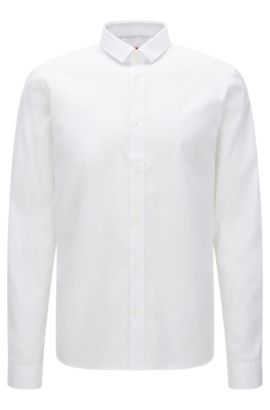'Ekong' | Relaxed Fit, Cotton Zipper Button Down Shirt, Open White