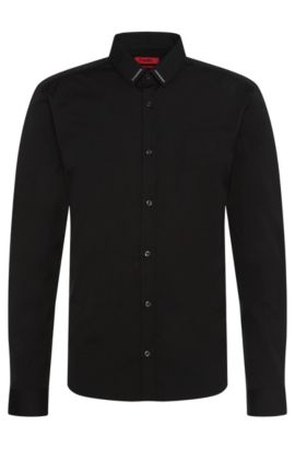 'Ero' | Slim Fit, Stretch Cotton Button Down Shirt, Black