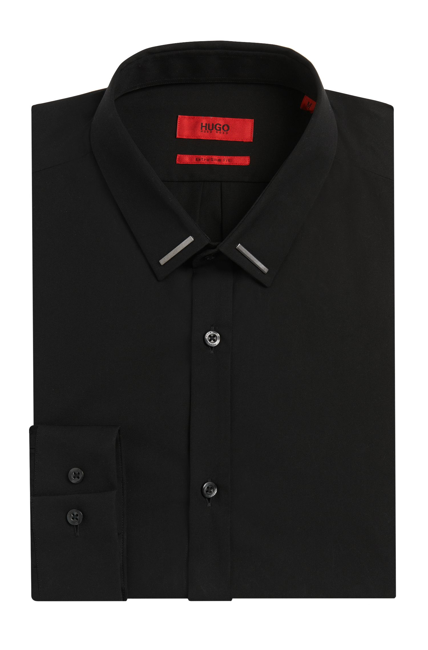 Slim-fit shirt in cotton with metal-trimmed collar