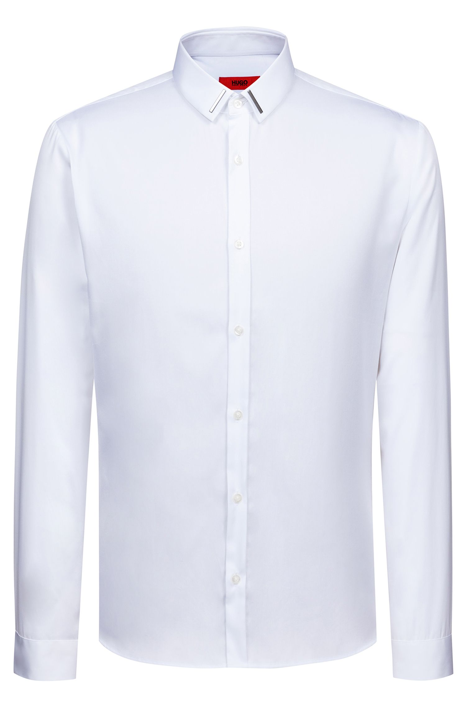 Slim-fit shirt in cotton with metal-trimmed collar, Open White