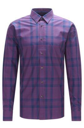 'Elisha'   Extra Slim Fit, Cotton Button Down Shirt, Purple