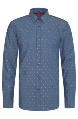 'Elisha' | Extra-Slim Fit, Fil Coupe Cotton Button Down Shirt, Dark Blue