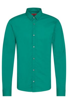 'Ero' | Extra Slim Fit, Cotton Button Down Shirt, Green