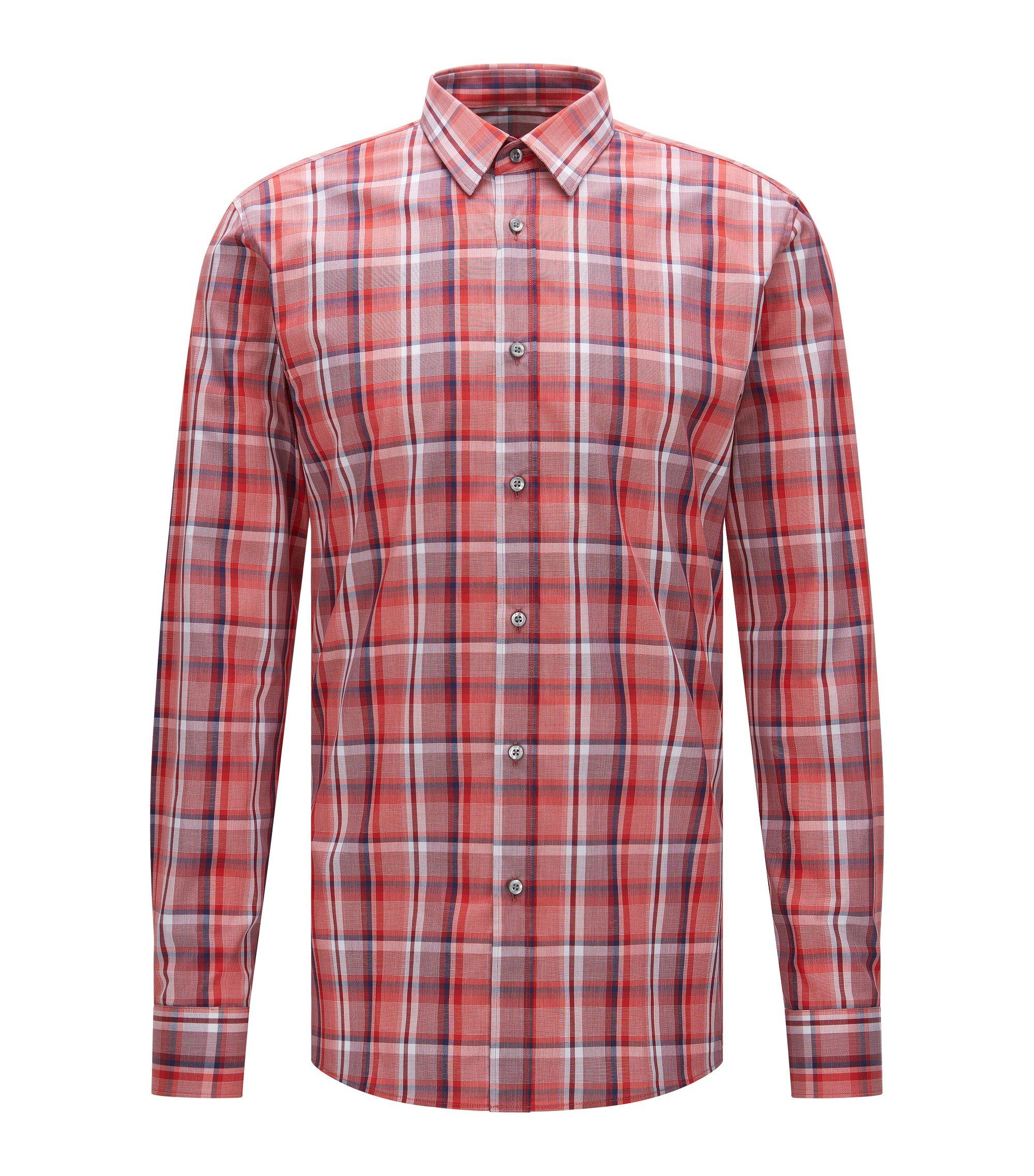 Plaid Cotton Dress Shirt, Extra-Slim Fit | Elisha, Red
