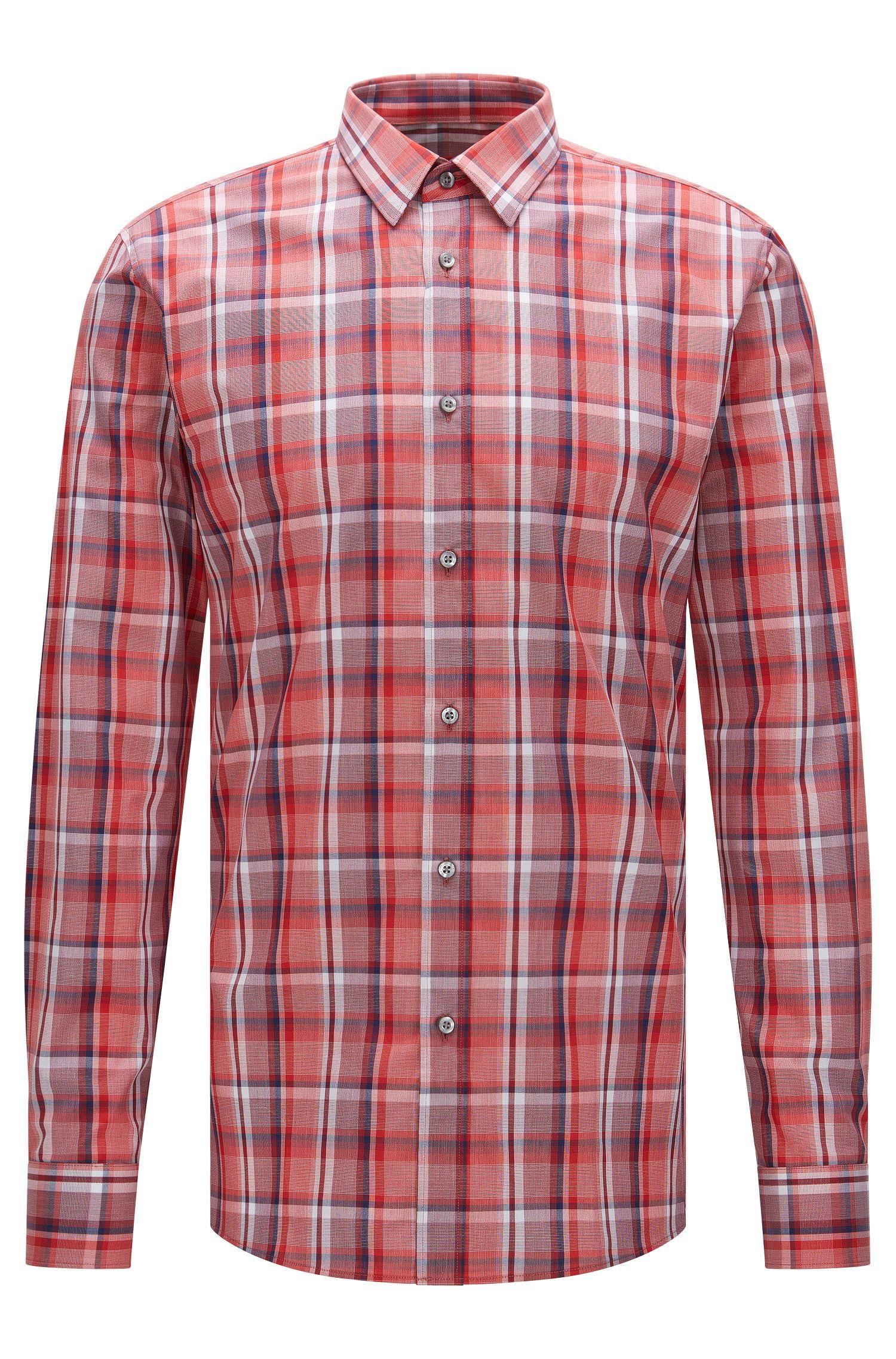 Plaid Cotton Dress Shirt, Extra-Slim Fit   Elisha