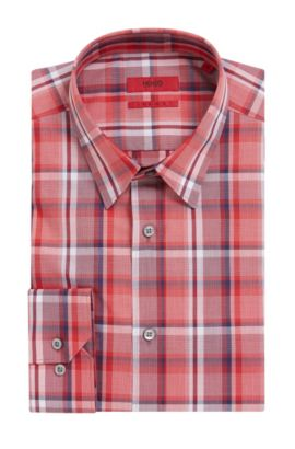 Plaid Cotton Dress Shirt, Extra-Slim Fit | Elisha, Red