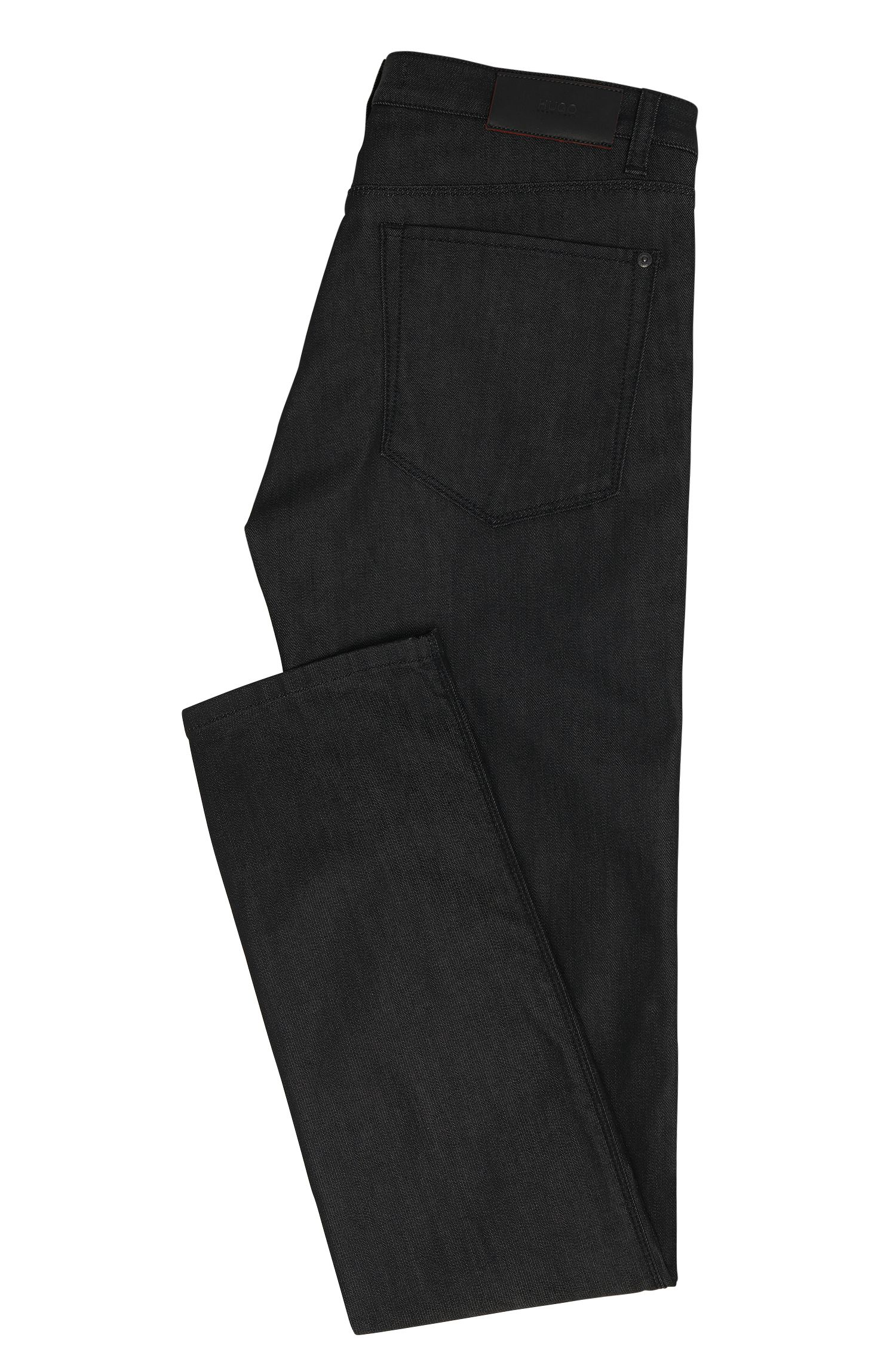 9.5 oz Stretch Cotton Blend Jeans, Slim Fit | Hugo 708, Black