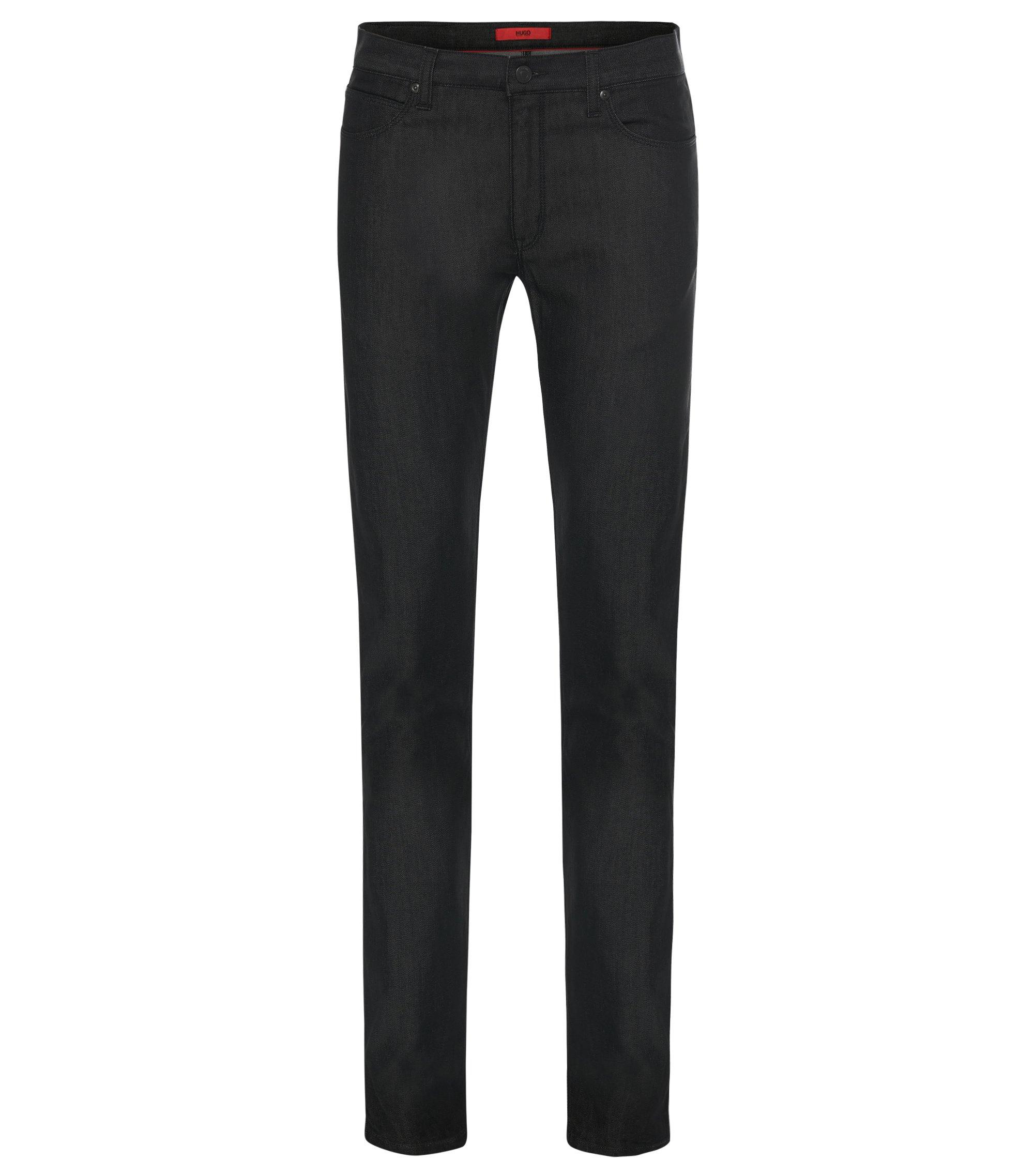 9.5 oz Stretch Cotton Blend Jeans, Slim Fit | Hugo 708, Black