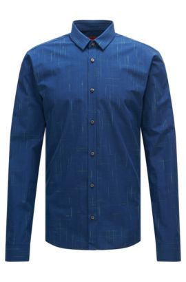 'Ero' | Slim Fit, Cotton Button Down Shirt, Green