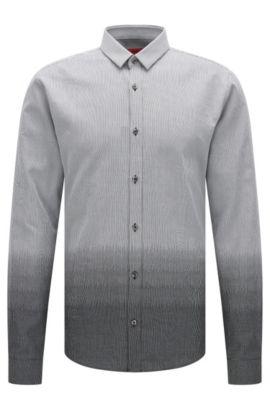 'Ero'   Slim Fit, Cotton Button Down Shirt, Black
