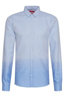 'Ero' | Slim Fit, Cotton Button Down Shirt, Light Blue
