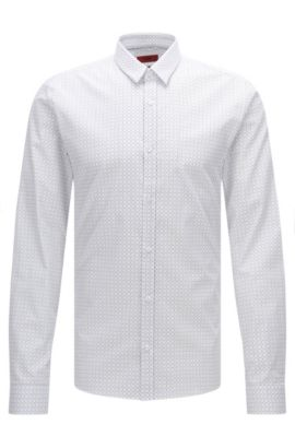 'Ero' | Slim Fit, Cotton Button Down Shirt, Open White