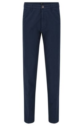 'Crigan D' | Regular Fit, Stretch Cotton Trousers, Dark Blue