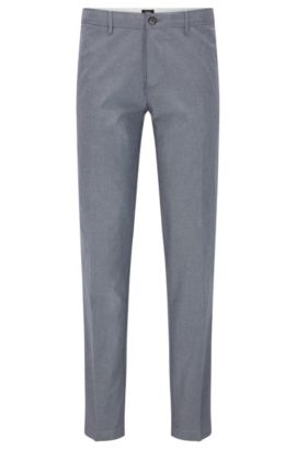 'Crigan W' | Regular Fit, Stretch Cotton Trousers, Grey