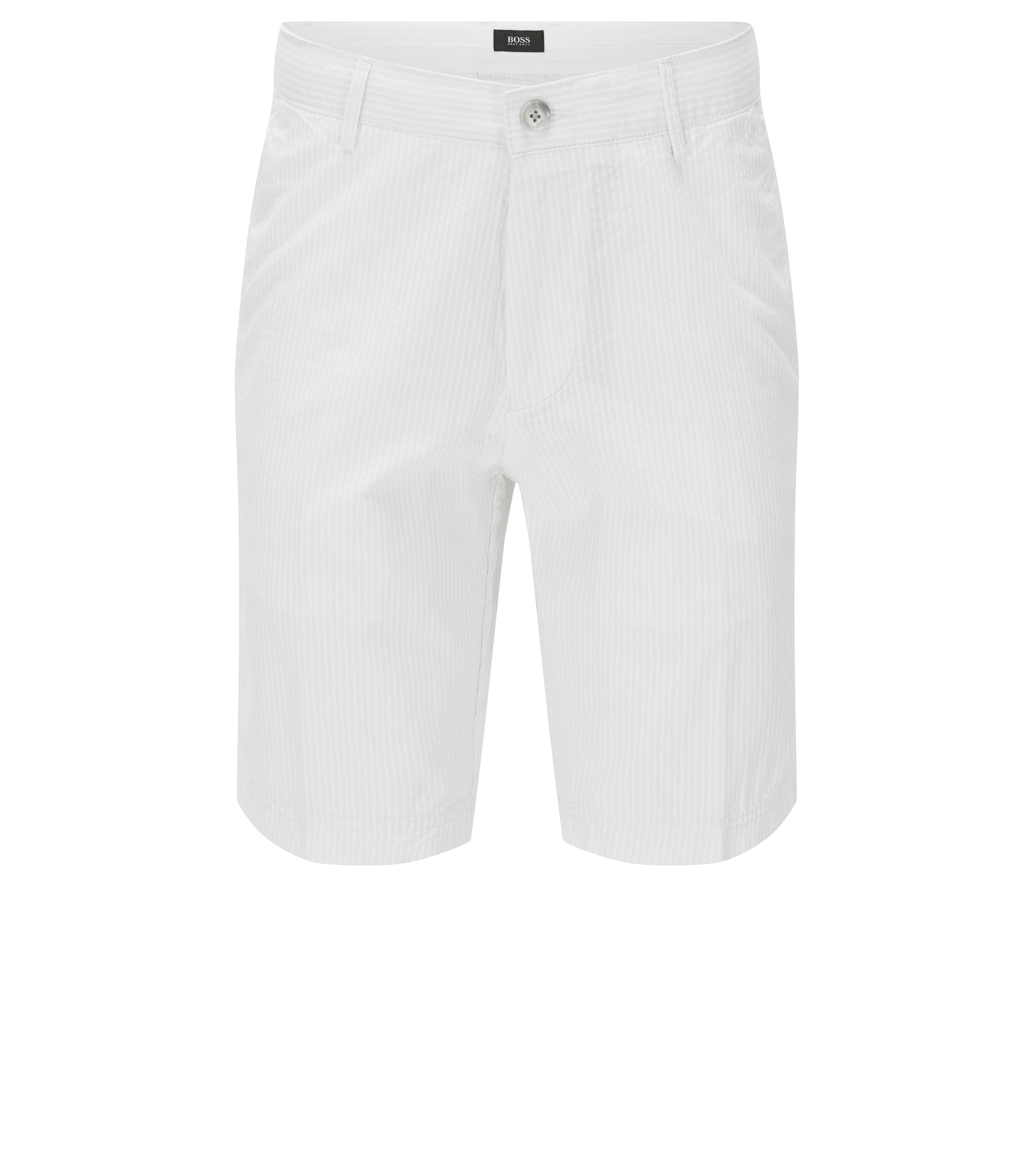 Cotton Tonal Seersucker Short, Regular Fit | Crigan Short W, White