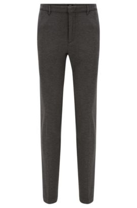 'Kaito W' | Slim Fit, Stretch Melange Jersey Trousers, Grey
