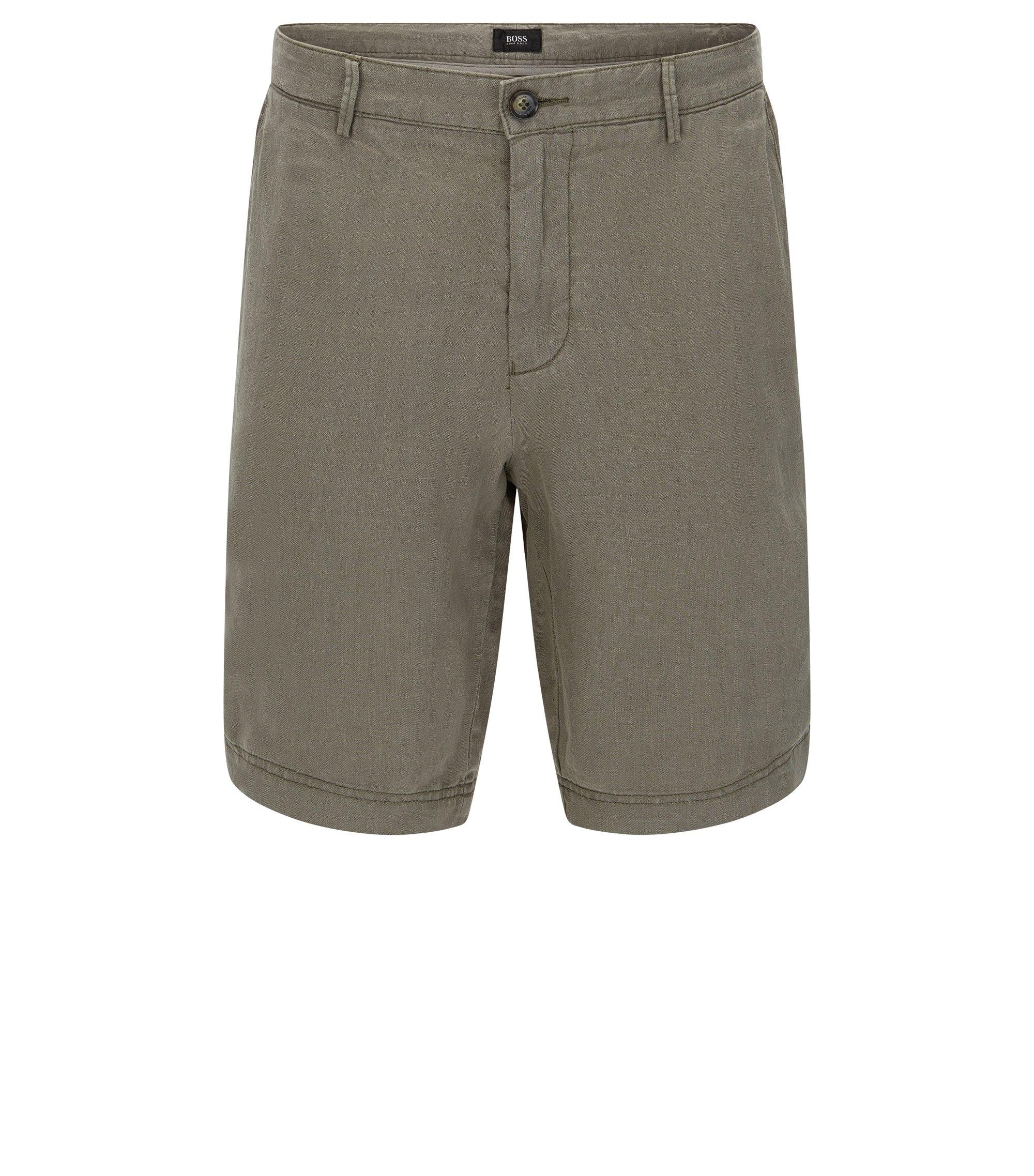 Regular Fit, Linen Short, Regular Fit | Crigan Short D, Dark Green
