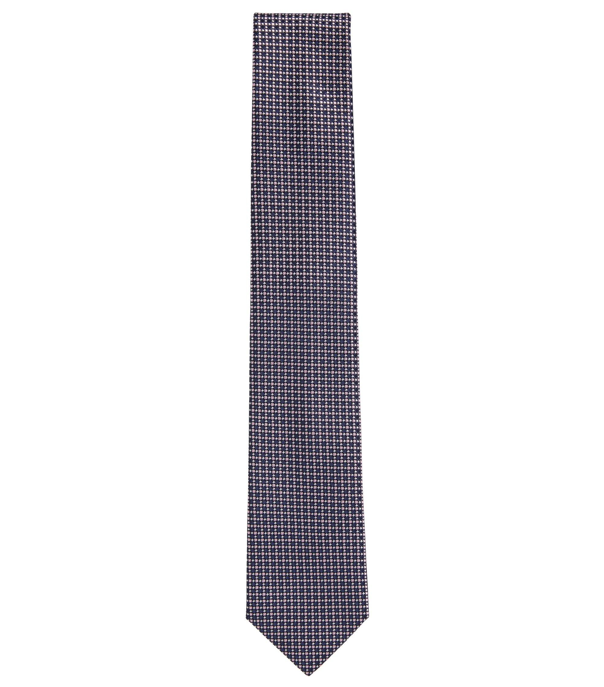 Embroidered Italian Silk Tie, Dark Blue