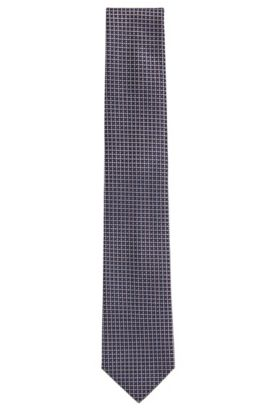 Embroidered Silk Tie, Regular | Tie 7.5 cm, Dark Blue