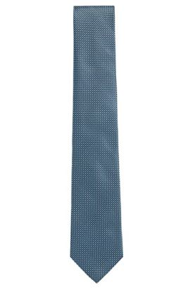 'Tie 7.5 cm' | Regular, Silk Patterned Tie, Open Green