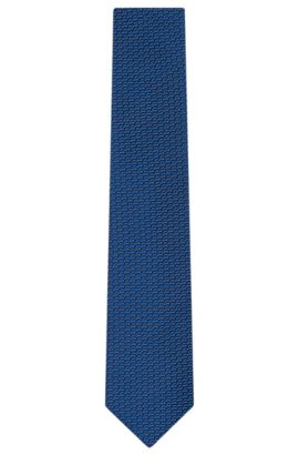 Patterned Silk Tie, Regular | Tie 7.5 cm, Blue