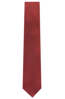 'Tie 7.5 cm' | Regular, Silk Patterned Tie, Red