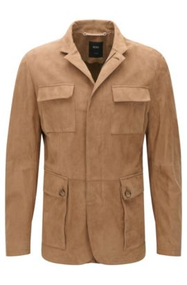 Tailored Suede Jacket | T-Norvis, Open Beige