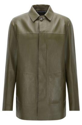 'T-Coppin' Lambskin Nappa Leather Car Coat, Green