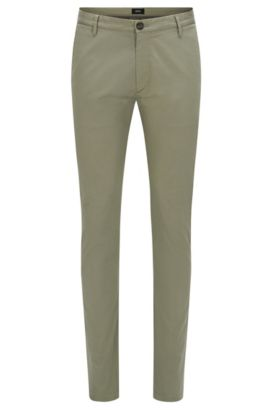 'Rice W' | Slim Fit, Italian Stretch Cotton Pants, Green