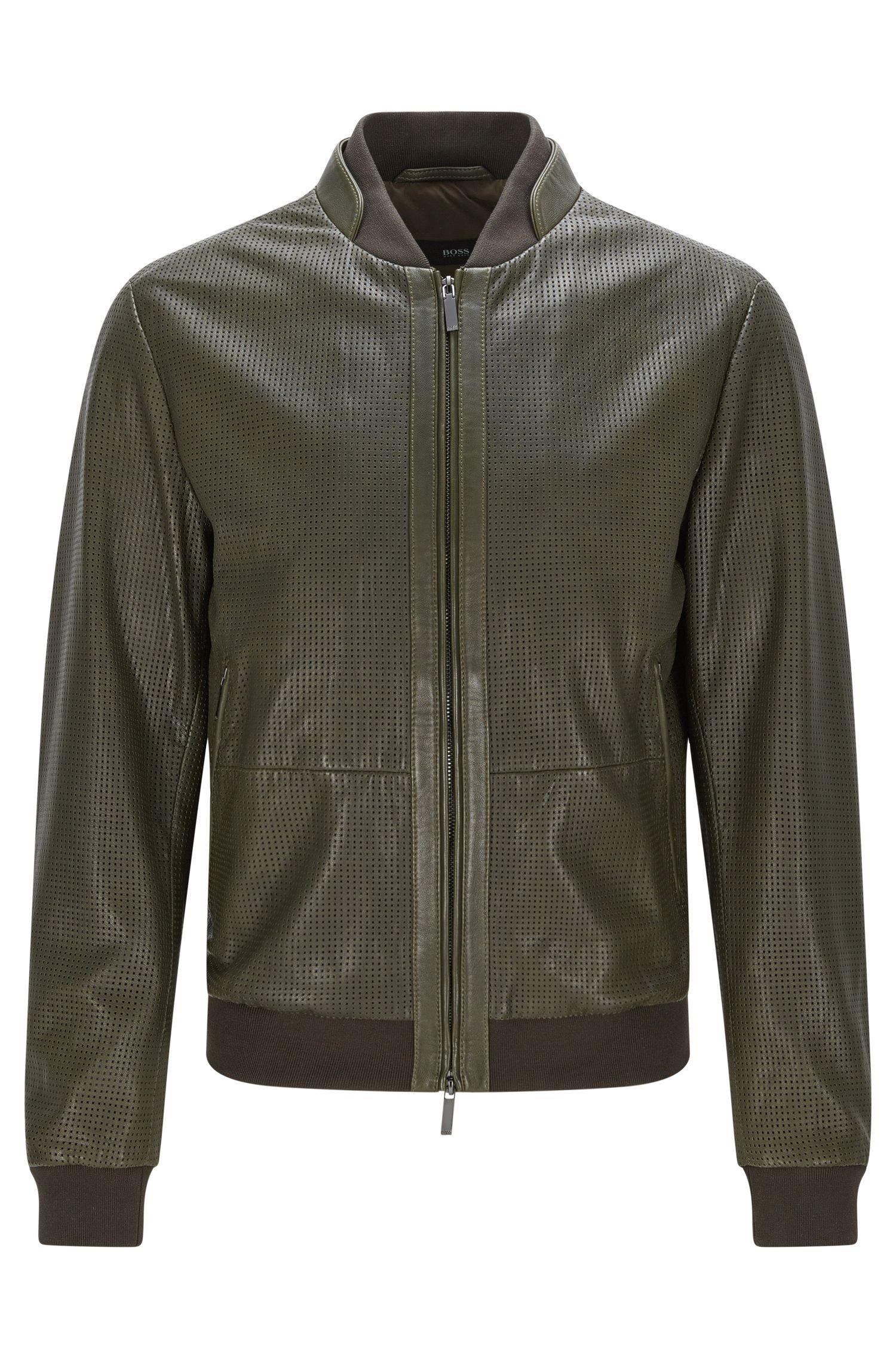 'Meritz' | Regular Fit, Perforated Nappa Leather Jacket