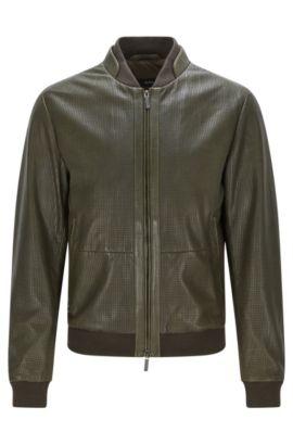 'Meritz' | Regular Fit, Perforated Nappa Leather Jacket, Dark Green