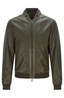 'Meritz' | Regular Fit, Perforated Nappa Leather Jacket, Dark Green