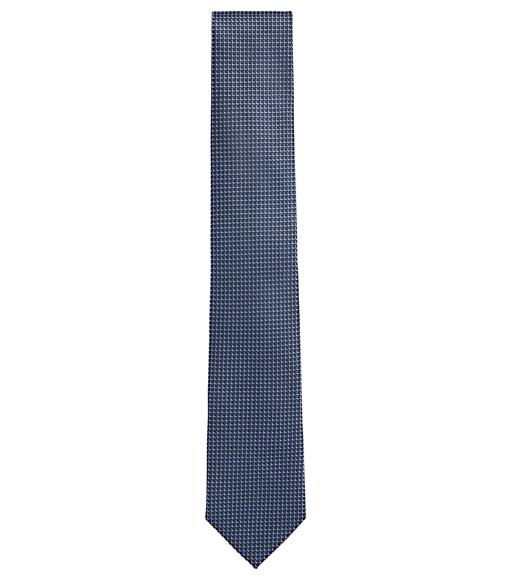 Patterned Italian Silk Tie, Dark Blue